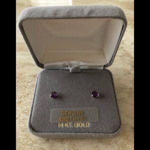 New in box, genuine Amethyst 14KT gold earrings